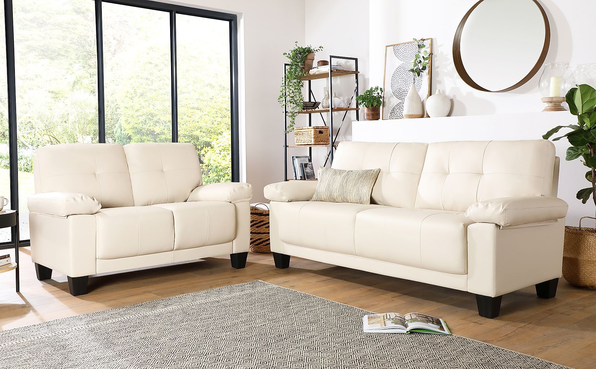 Linton Small Ivory Leather 3 2 Seater Sofa Set Sofa Set