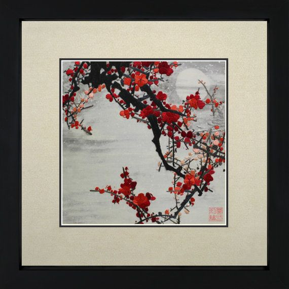 King Silk Art 100% Handmade Embroidery Japanese Cherry Blossom Floral Oriental  Framed Wall Art Decoration