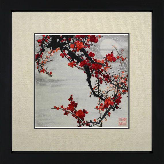 King Silk Art 100% Handmade Embroidery Japanese Cherry Blossom Floral Oriental  Framed Wall Art Decoration