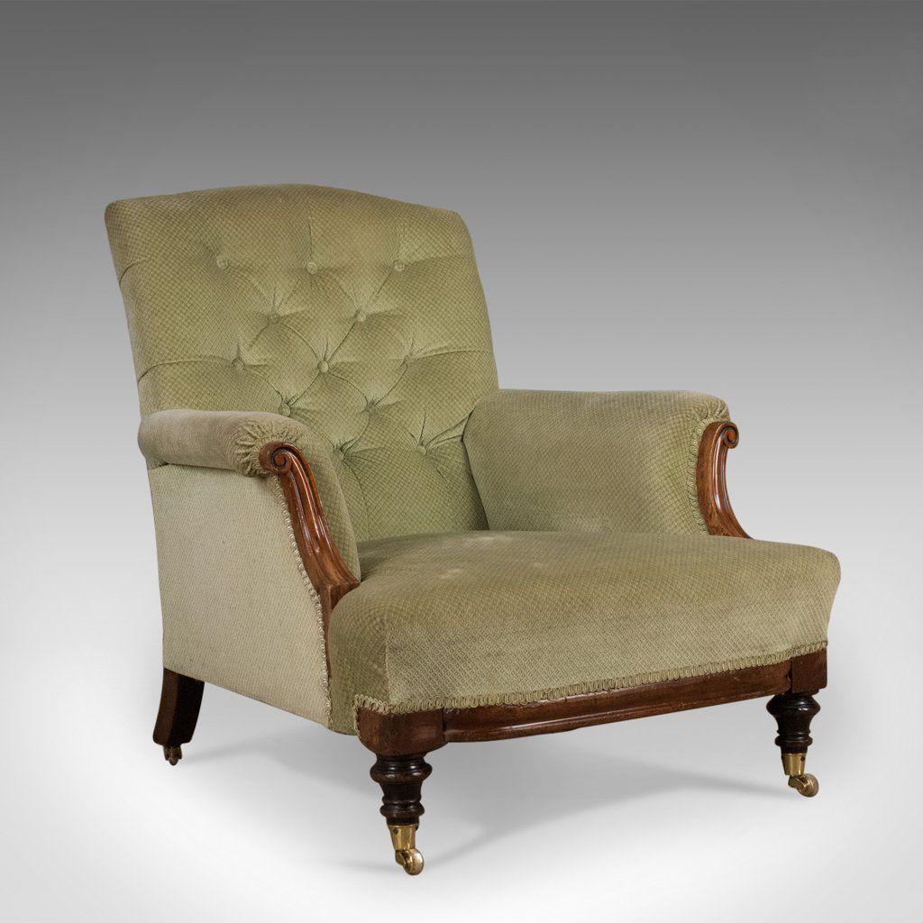 Antique Armchair English Victorian Button Back Club Chair