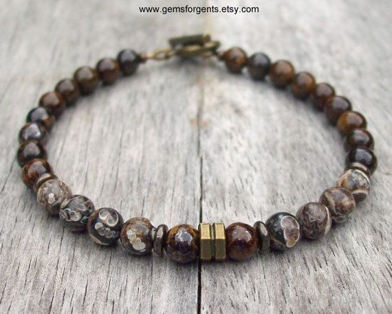 Brown Turritella Fossilized Agate and Brown Bronzite, Mens Beaded Bracelet, Mens…