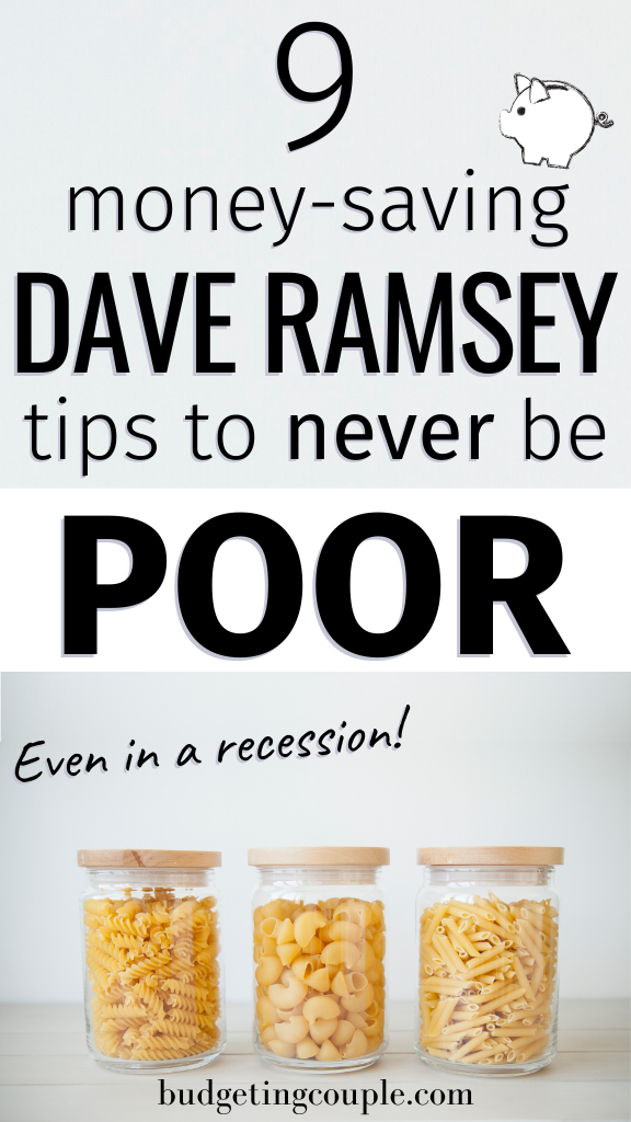 Especially in times of crisis, these Dave Ramsey tips are crucial to living below your means and building your savings! If you're struggling with your finances you need the push from the budgeting king Dave Ramsey himself. Use his frugal living strategies to build a budget that works. Click the pin to get the must-try Dave Ramsey money tips. Budgeting Couple   Budgeting Couple Blog   BudgetingCouple.com