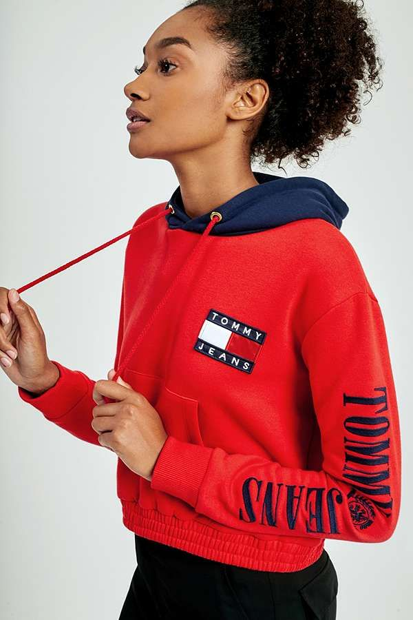 Tommy Habits Red Jeans Hoodie Contrast Cropped '90s Fille Z7Zqxr6