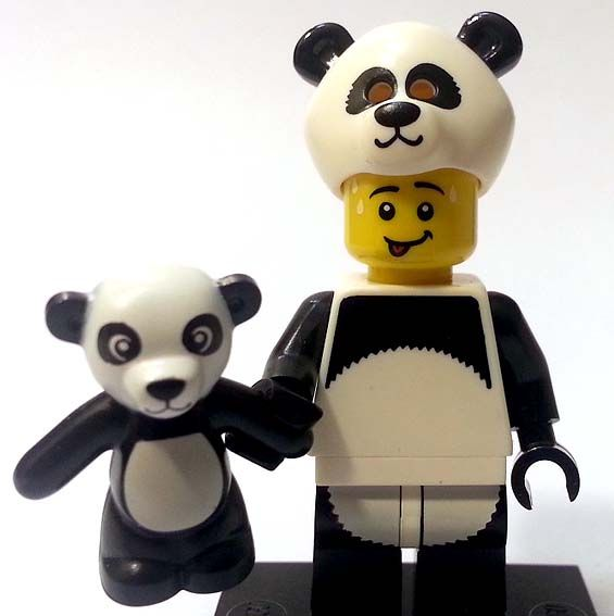 LEGO Panda guy mini fig with baby panda