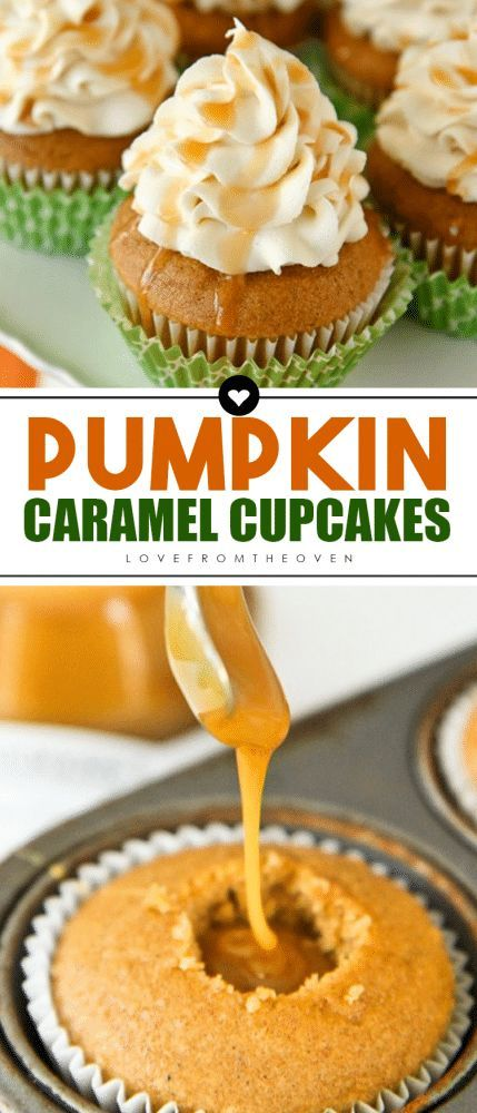 Pumpkin Cupcakes With A Caramel Cream Cheese Frosting. These cupcakes are absolutely amazing and really simple to make. #pumpkinspicecupcakes