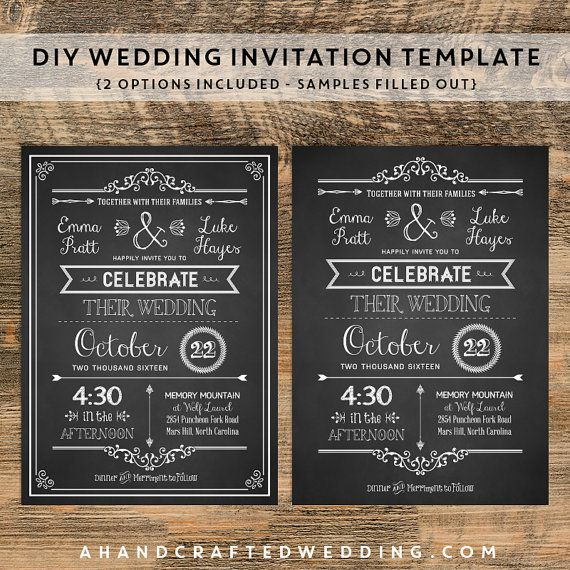 Diy Chalkboard Wedding Invitation Rsvp Card Template Chalkboard Invitation Template Chalkboard Wedding Invitations Wedding Invitation Templates
