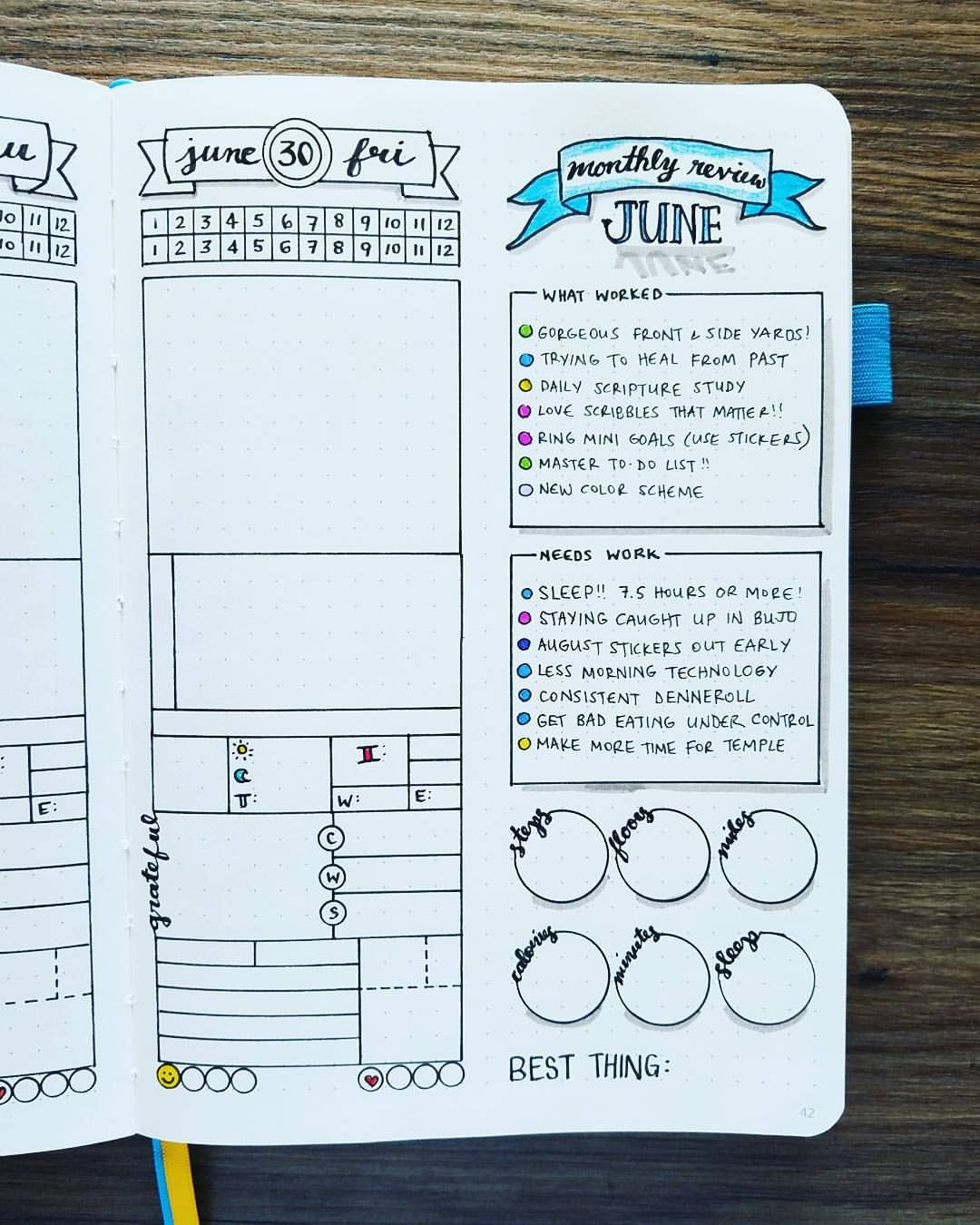 """559 Likes, 19 Comments - Micah (@my_blue_sky_design) on Instagram: """"NEW Bullet Journal Setup - June 2017 End-of-Month Review First of all, how on Earth is June over?!…"""""""