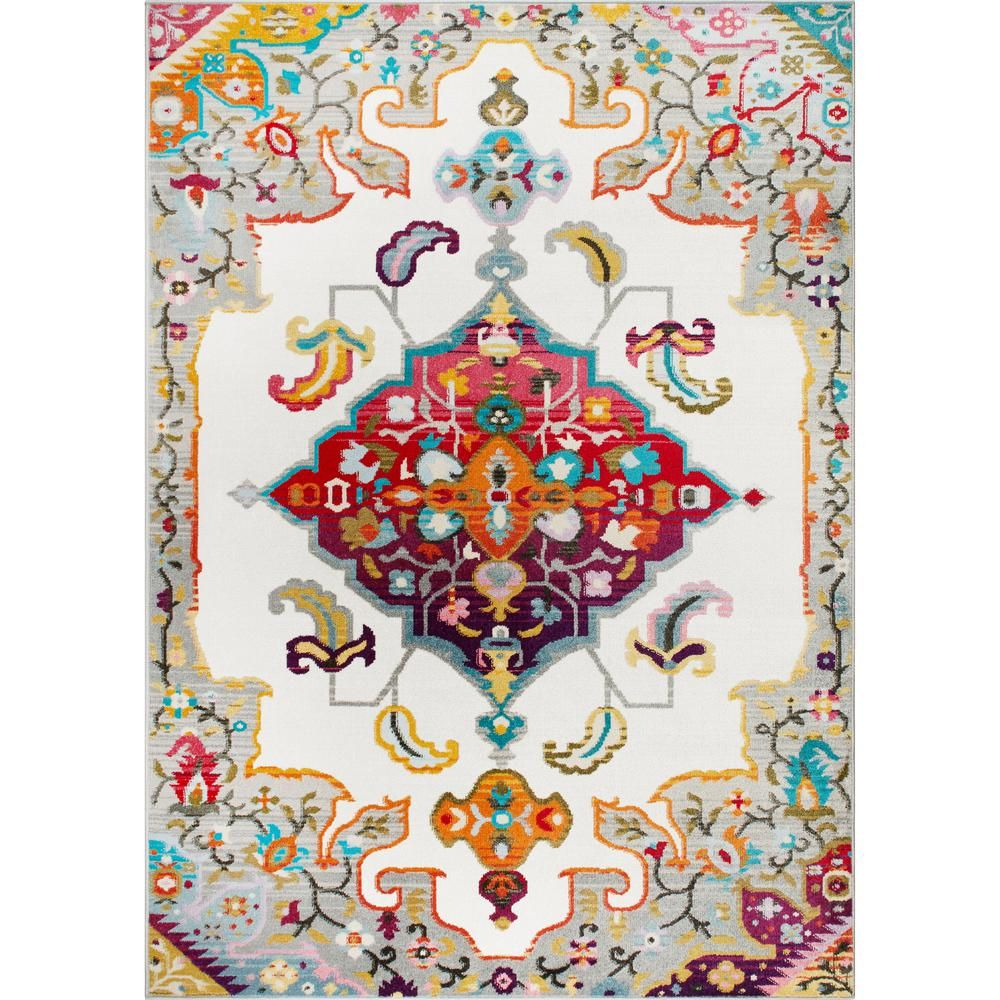 Home Dynamix Melody Odette Ivory 1 Ft 8 In X 2 Ft 8 In Indoor Area Rug Area Rugs Rugs Colorful Rugs