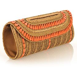 Fabric and Antique Embroidery with Coral Stones Patna Clutch (India) #odotco #overstock #worldstock
