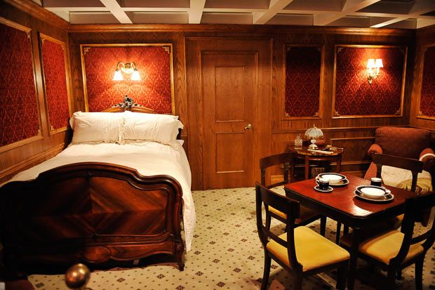A recreation of a first class cabin on the Titanic. Titanic exhibition at the O2 in London  artefacts recovered from