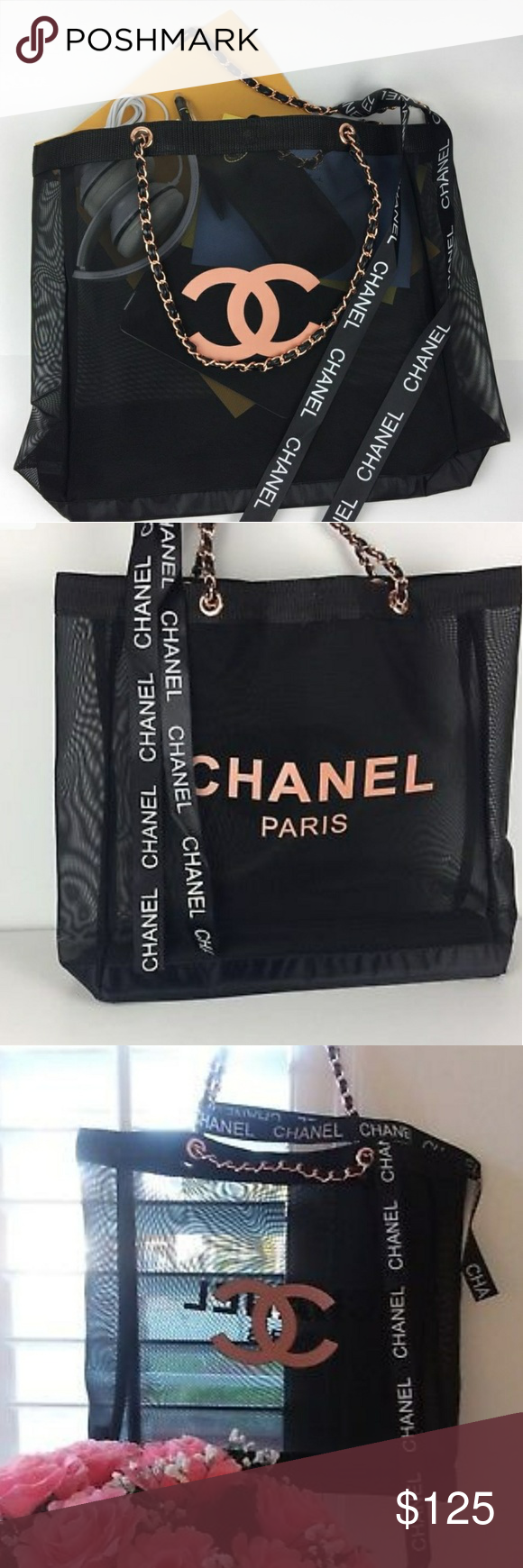ed941f5234c562 Chanel vip rose gold mesh shopping tote Brand New 100% Authentic Chanel VIP  Gift Black