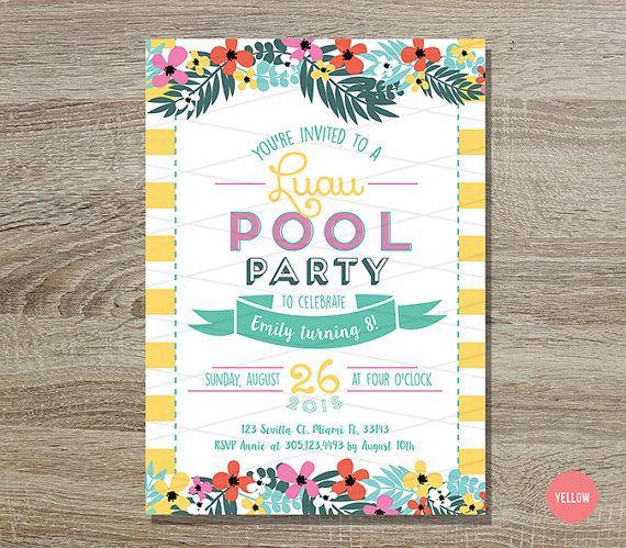 Luau Pool Party Birthday Invitation Printable    5x7 Yellow and Teal - birthday invitation pool party