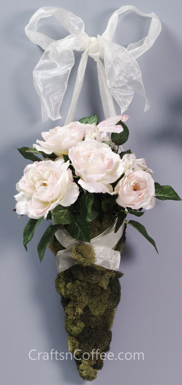 Beautiful Floral Cone Tussy Mussy For A Wedding Hang From Pews Or Church Doo