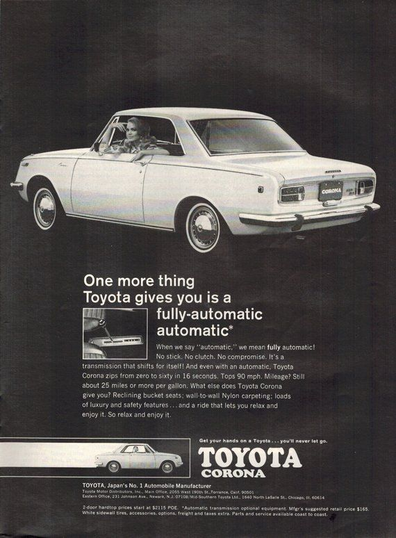 Vintage Print Ad November 1968 : Toyota Corona Cars Automobile Wall ...