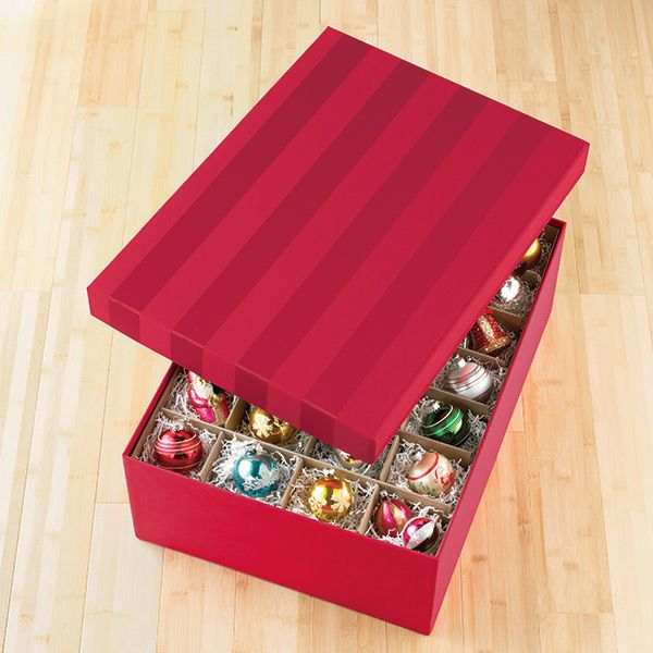 Red Moir Archival Ornament Storage Box Holds 44 ornaments www