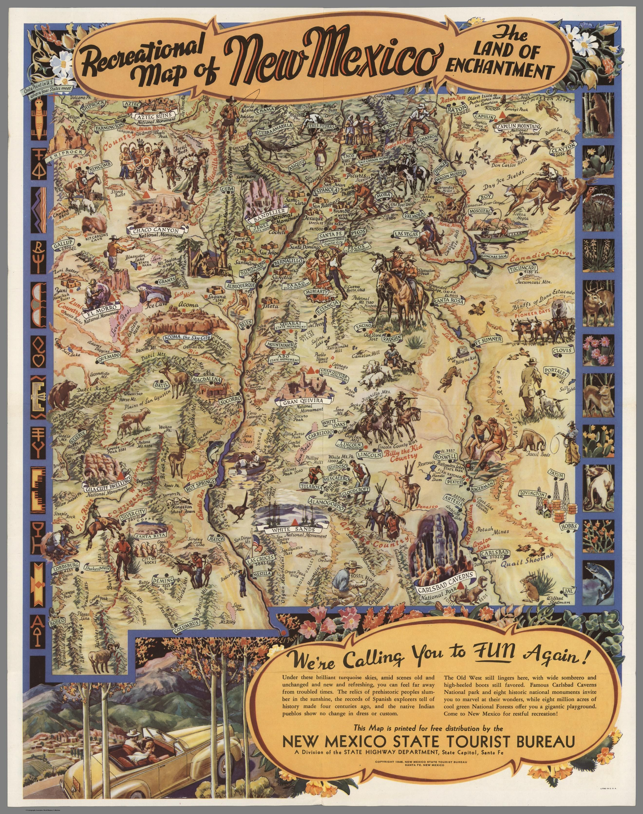 Recreational Map Of New Mexico The Land Of