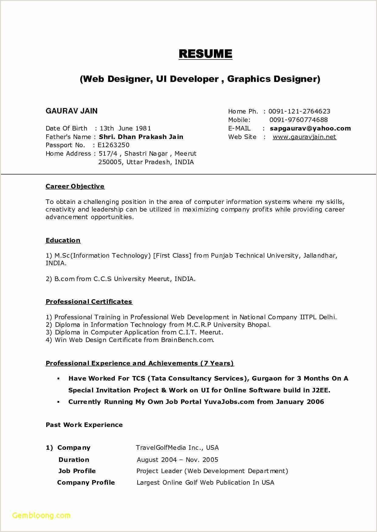 Fresher Bcom Resume Format Doc In