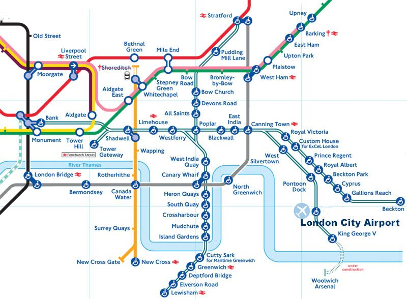 London DLR map tofrom Greenwich Cutty Sark station many DLR