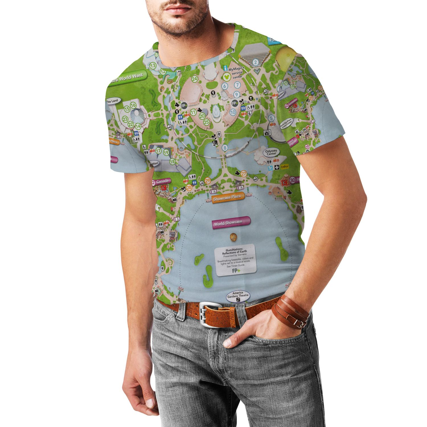 Epcot Map Disney Mens T Shirt Epcot Map