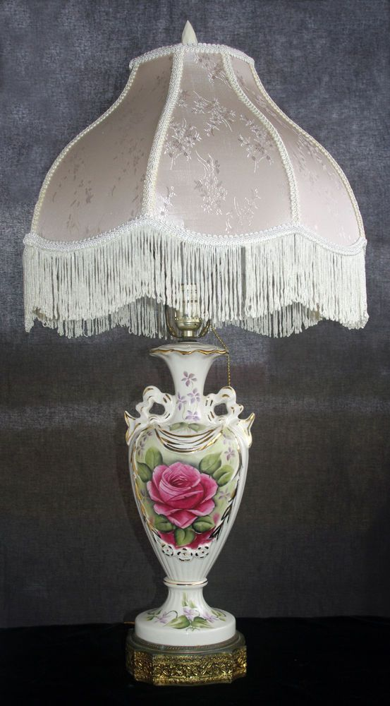 Antique Victorian Porcelain Lamp Silk Fringed Shade Hand Painted