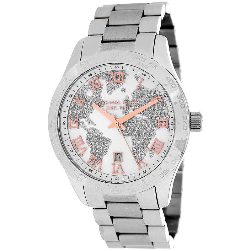 fbaa3286bf16 Michael Kors Women s MK5958  Layton  Silvertone Globe Watch - Overstock™  Shopping - Big Discounts on Michael Kors Michael Kors Women s Watches