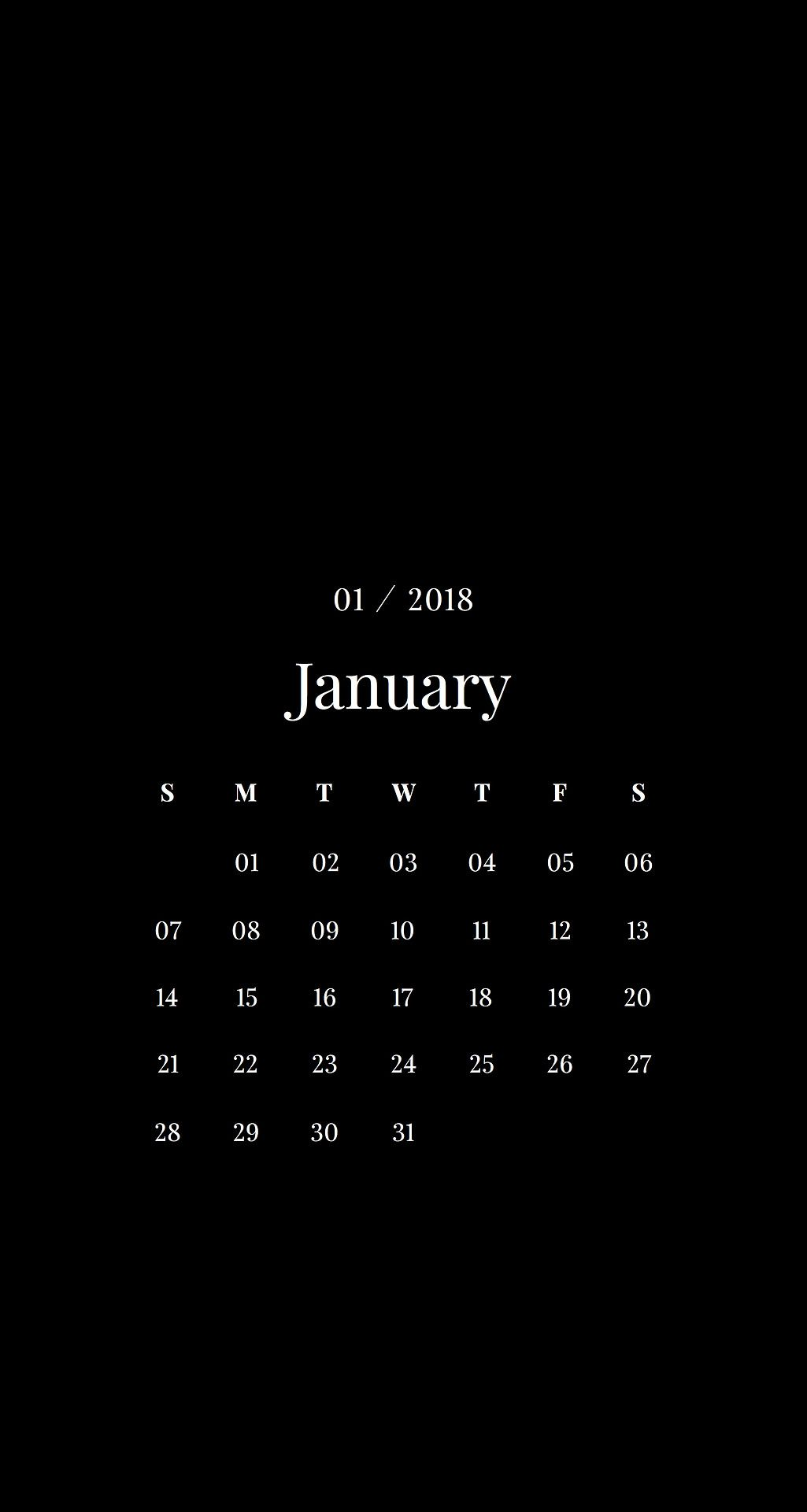 january desktop background phone android iphone calendar minimalist
