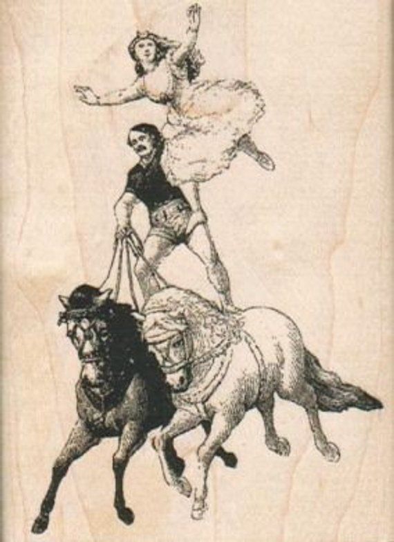 Rubber Stamp Acrobats On Horses circus rubber stamps