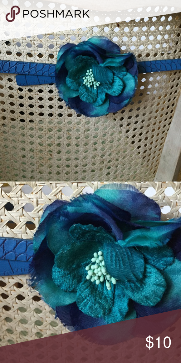 Flower Belt Ann Taylor Loft blue & teal flower detail lizard embossed belt LOFT Accessories Belts