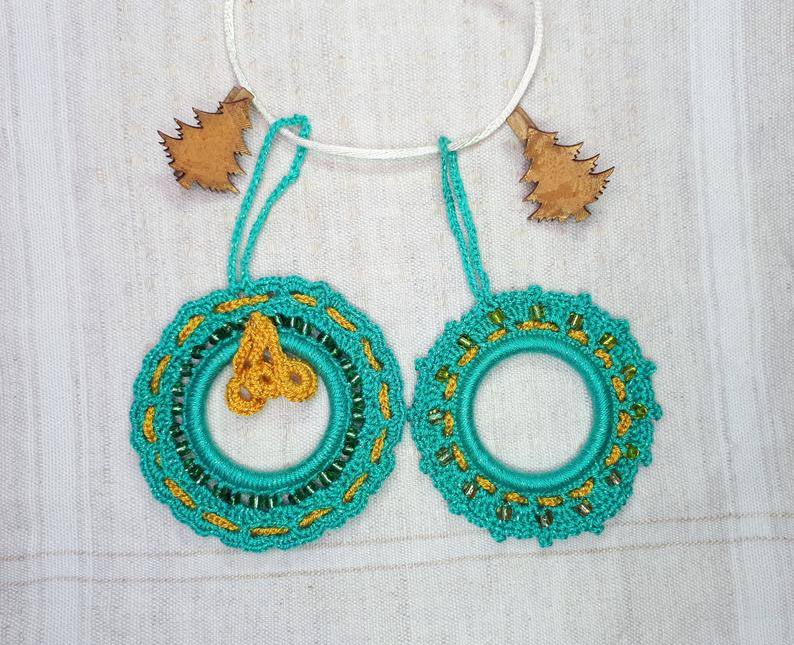 Photo of 2 Turquoise Christmas Ornaments, Hanging Crochet Wreaths