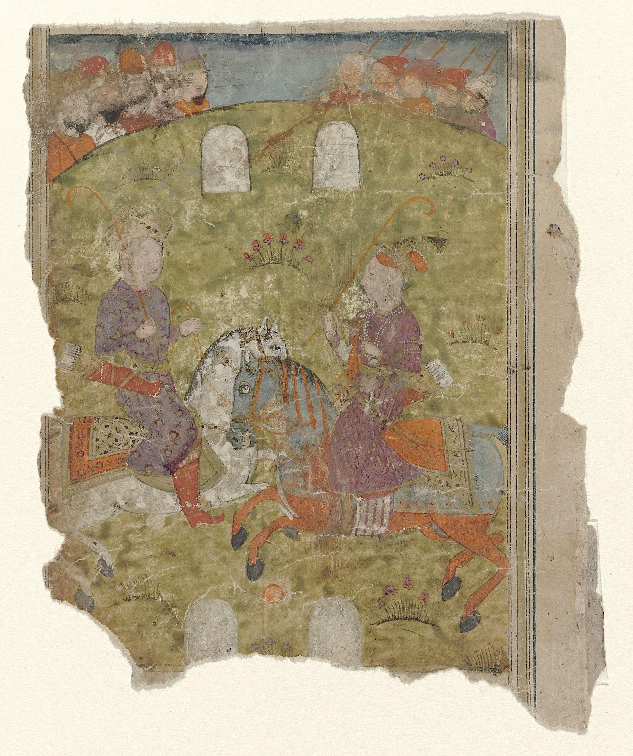 Anonymous | Restant van een miniatuur met twee ruiters en krijgers, Anonymous, 1790 - 1810 | Twee ruiters tegenover elkaar houden elk een rode zweep vast, op de achtergrond achter de heuvels krijgers(?). Restant van een blad, onderste helft verdwenen, linkerhelft beschadigd en deels verdwenen. Op verso twee kolommen tekst in oud-Perzisch schrift.