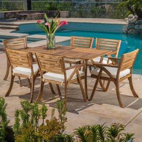 Paul 7 Piece Outdoor Acacia Wood Dining Set Teak Finish Walmart Com Outdoor Dining Set Outdoor Dining Patio Dining Set