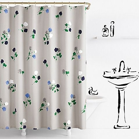 A Scattered Floral Print Gives The Willow Court Shower Curtain