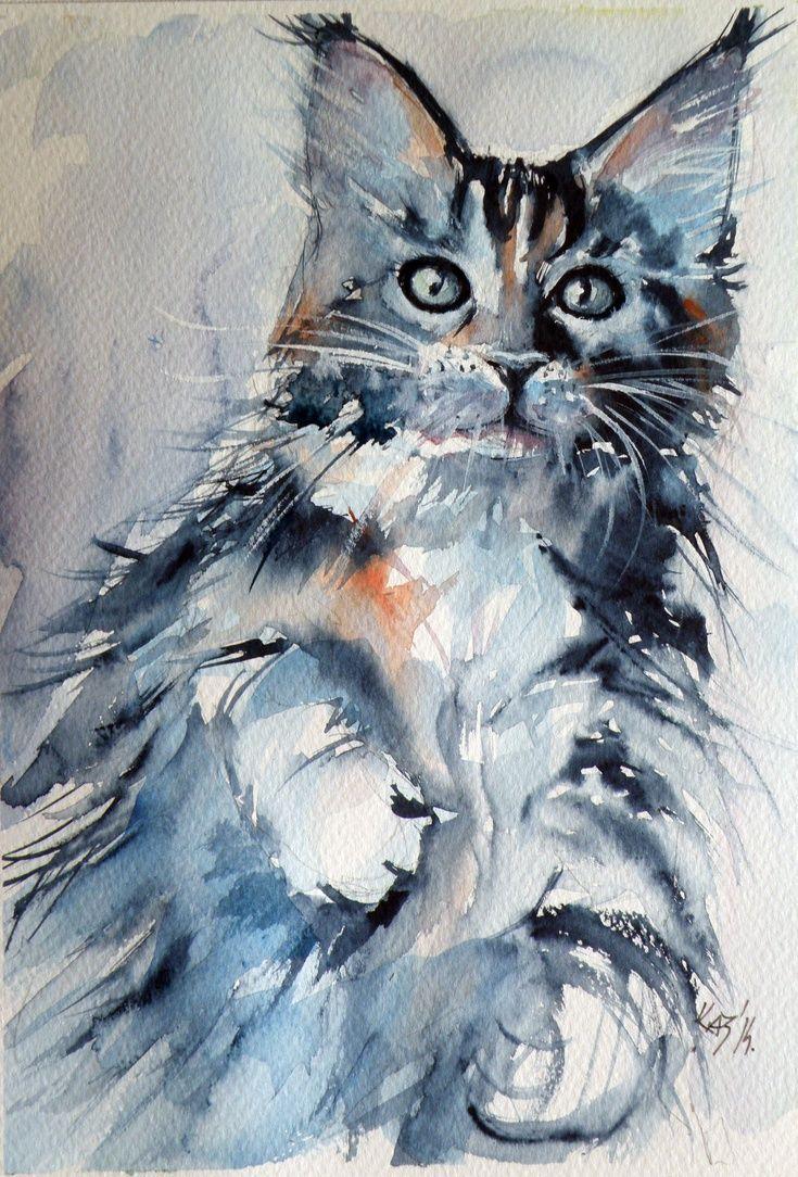 Artfinder Cat By Kovacs Anna Brigitta Original Watercolour