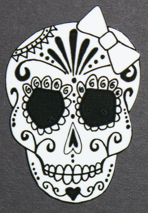 Day of the Dead Art Girl Sugar Skull Car Sticker #39 #46 Coloring - copy dia de los muertos mask coloring pages