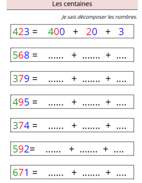 Decomposer Les Nombres Adaptation Pour Dys Exercice Math Ce1 Mathematiques Ce2 Exercice Ce2