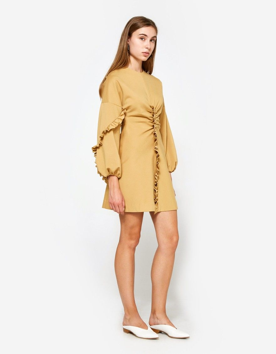 14eb34853d7e Mini dress from Tibi in Chene. High round neckline with back D-ring  closure. Open back with concealed zip closure at skirt. Dropped shoulders.