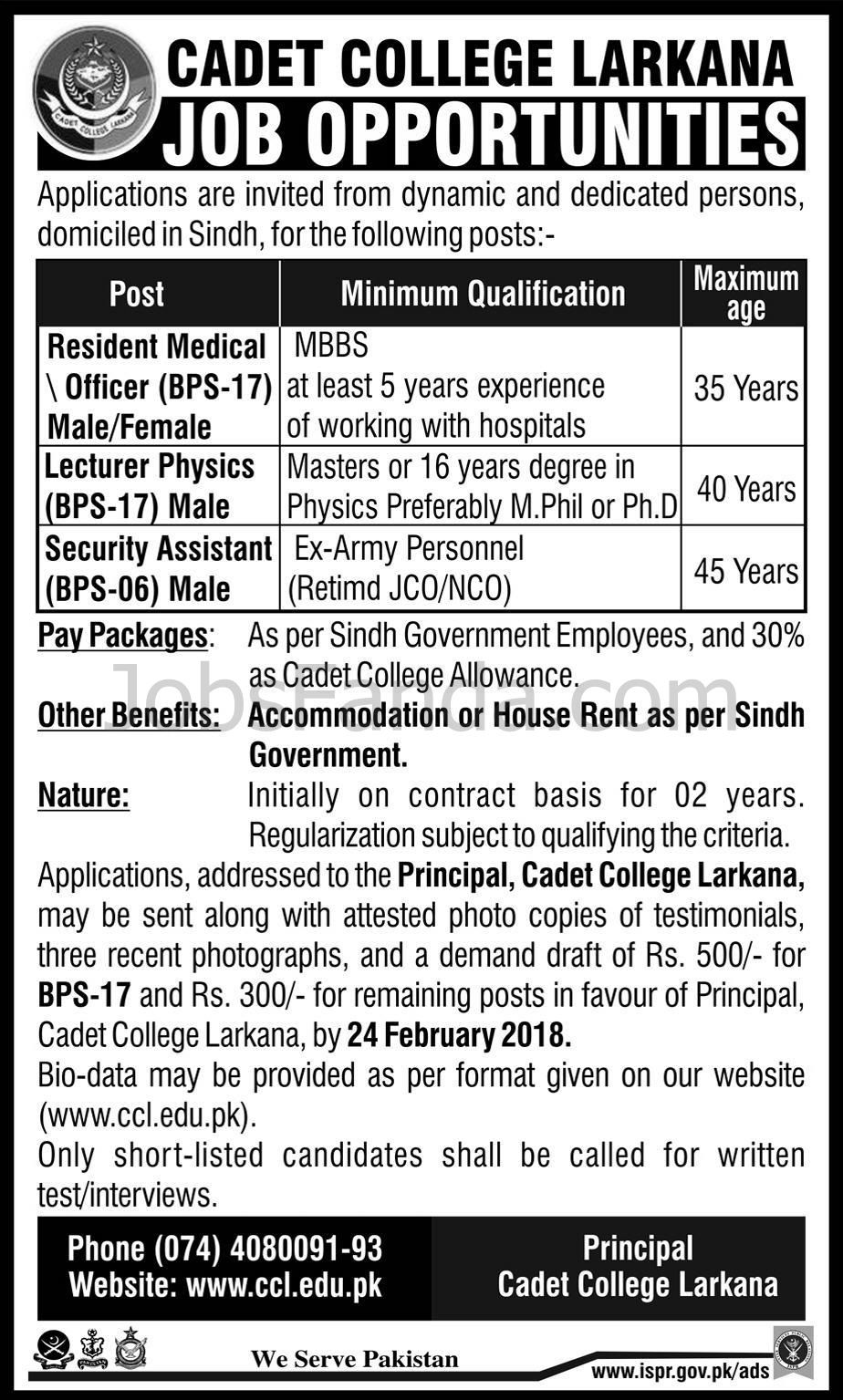 Cadat College Larkana Jobs  In Sindh For Medical Officer And