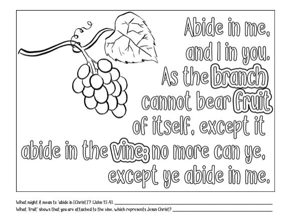 Come Follow Me Home Study Helps. June: Week 2. Grape vine