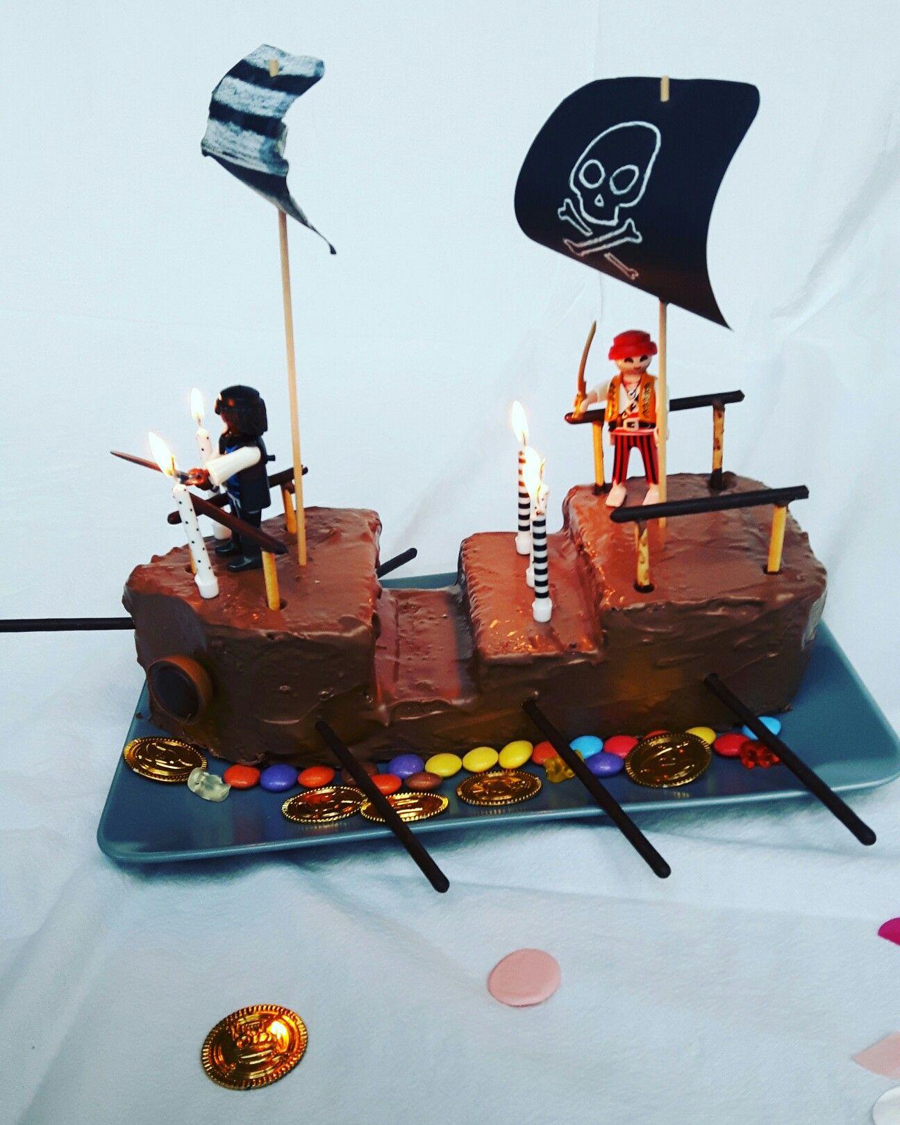 Piratenschiff Kuchen Marmorkuchen Schokoglasur Smarties Und