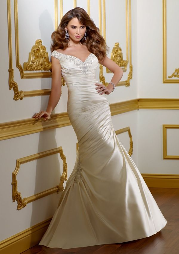 Style 1805 Rous Satin With Embroidery Available Colors Include White Silver Ivory Candlelight Gorgeous Wedding Gown Sleeves