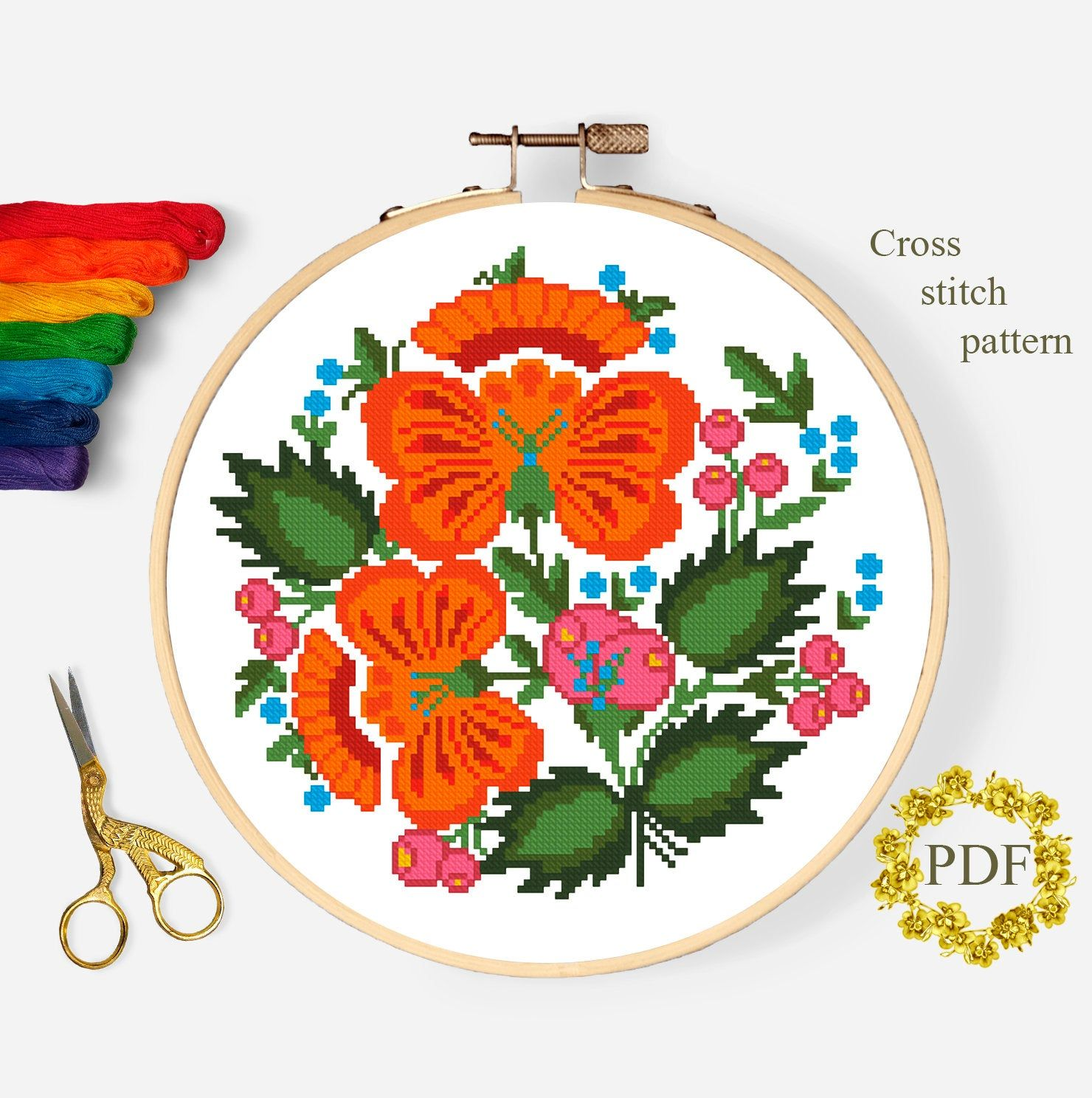 Nature Birds Embroidery Hoop Instant Download Flowers Counted Cross Stitch Chart Floral Folk Art Cross Stitch Pattern Modern PDF