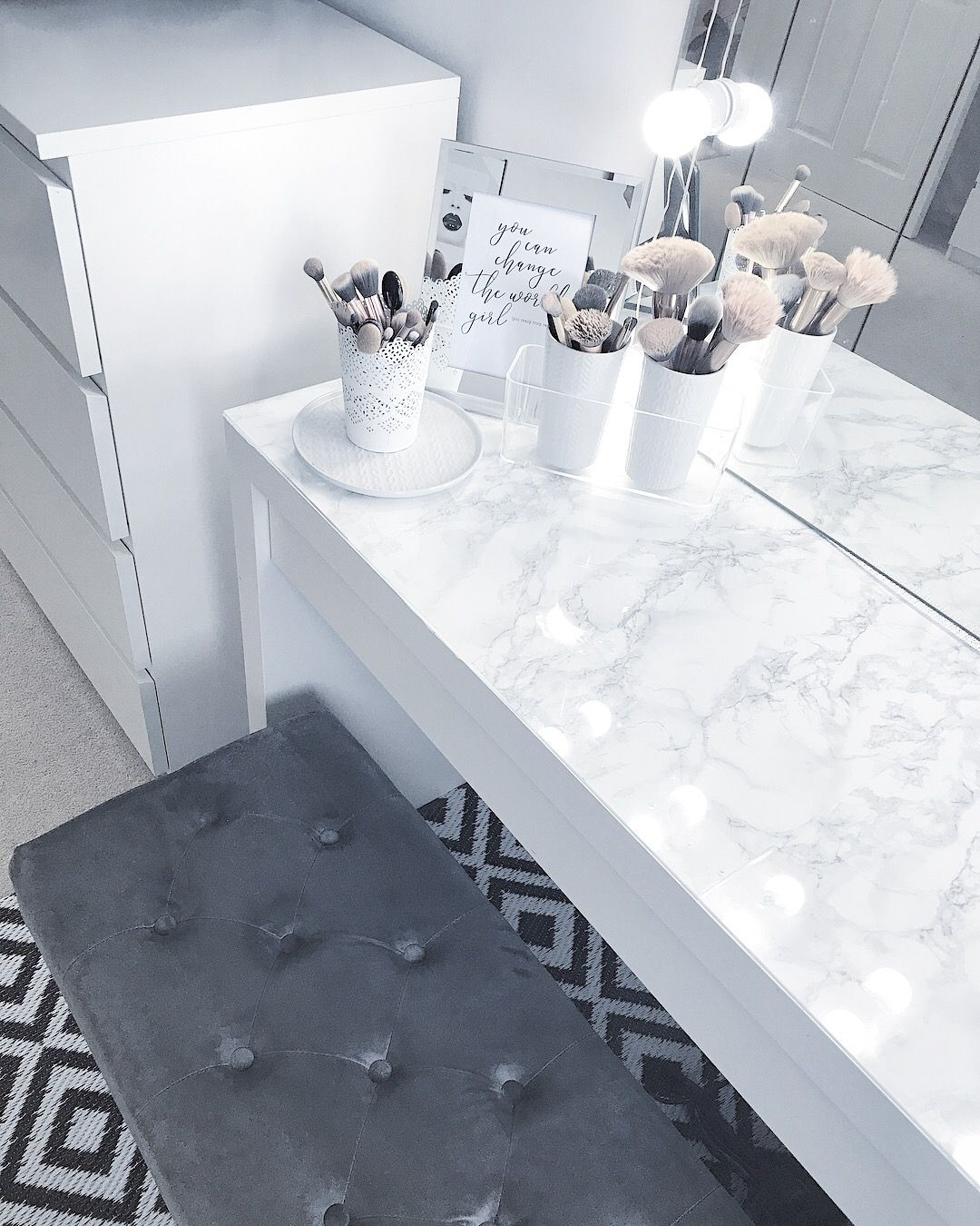 Marble diy dressing table Built in dressing table, Cute