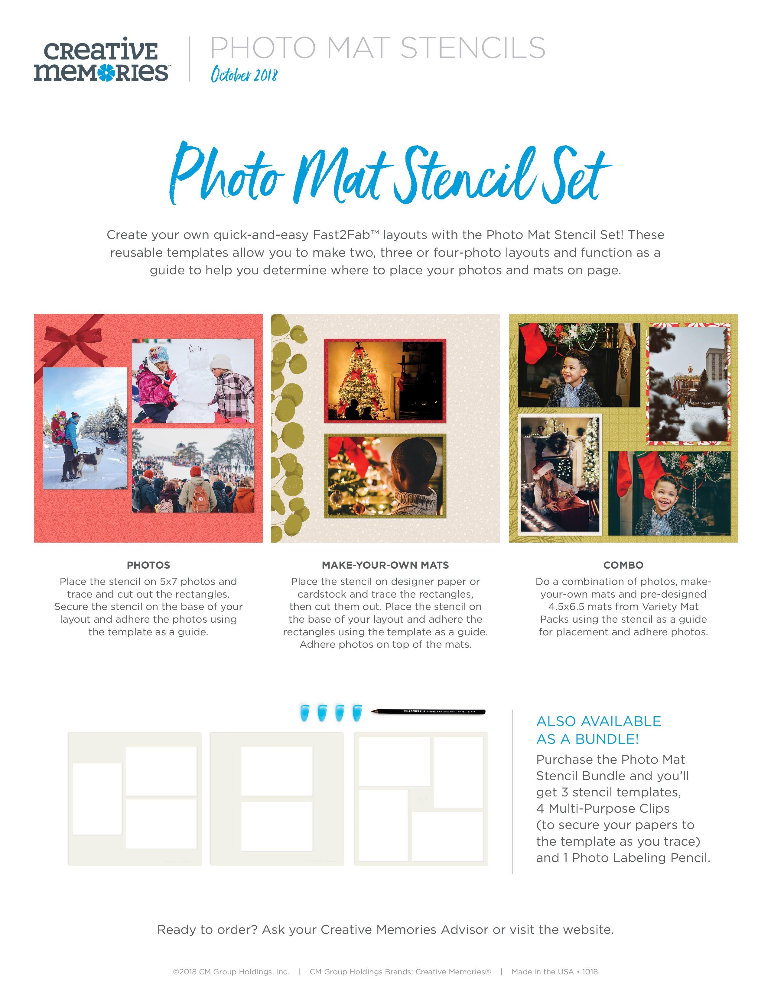 Creative Memories Photo Mat Stencil Set October 2018 Creative Memories Photo Memories Xoxo Card