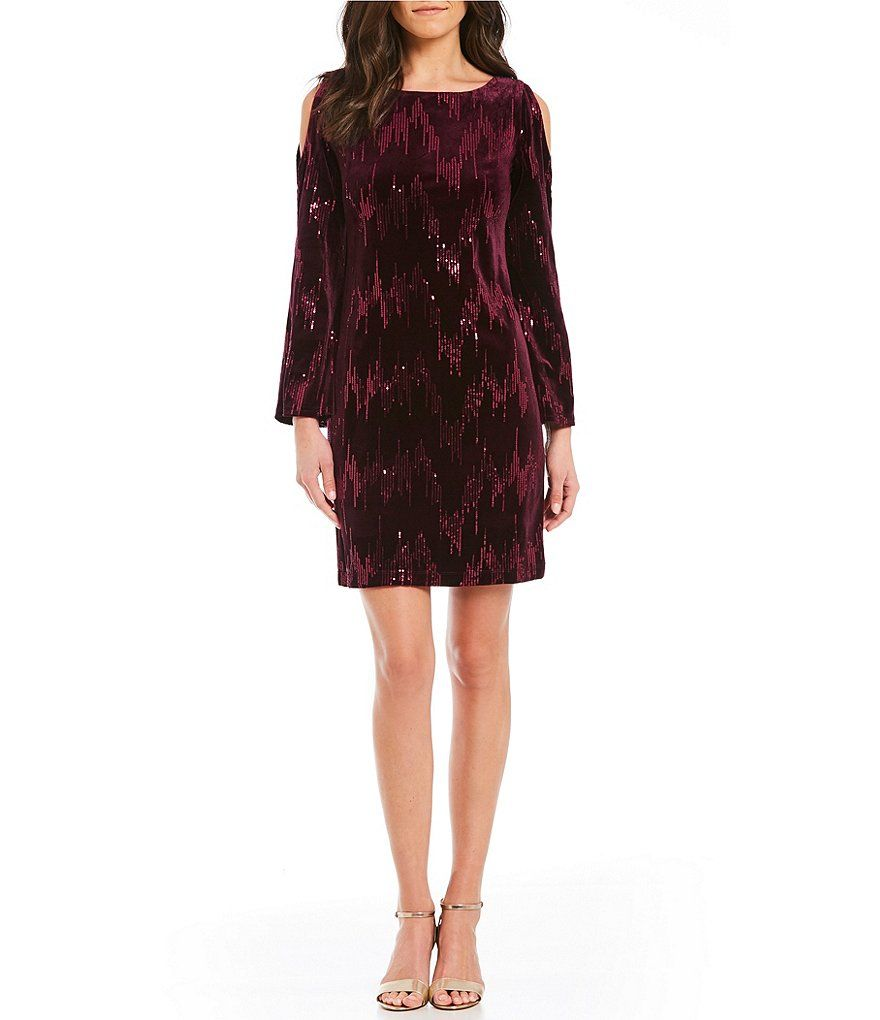 Jessica howard coldshoulder sequined velvet sheath dress cold