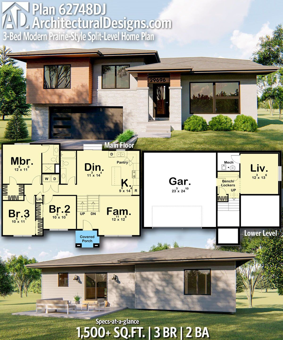 Plan 62748dj 3 Bed Modern Prairie Style Split Level Home Plan House Plans Building Plans House House Design