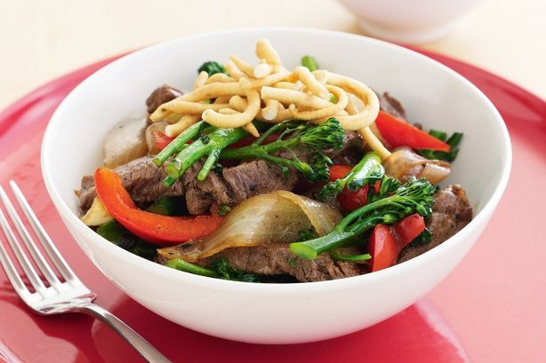 Crisp fried noodles add a satisfying crunch to this delicious Asian stir-fry.