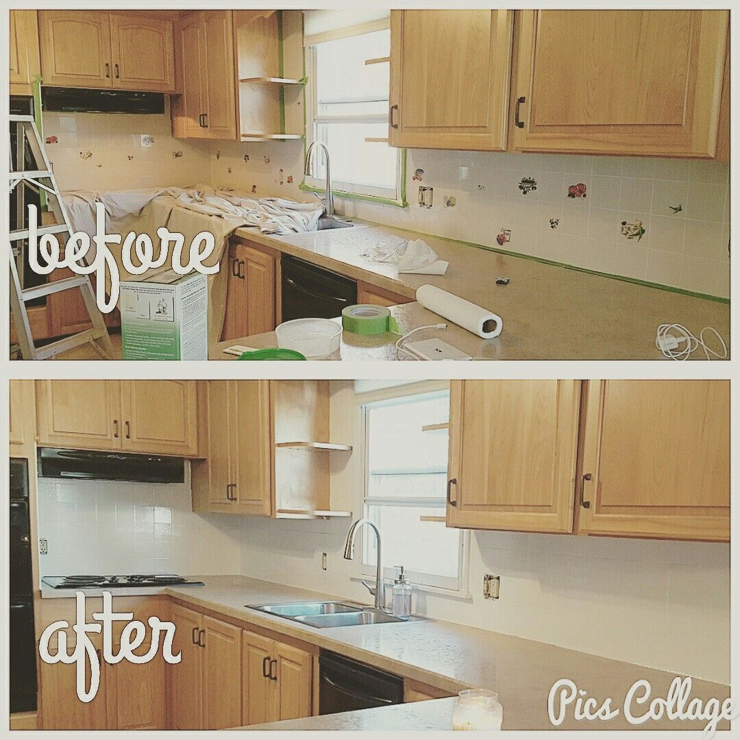 Before and after! Rustoleum Tub and Tile on kitchen backsplash ...