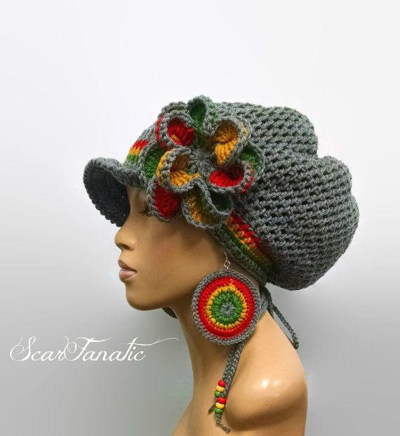 MADE TO ORDER Grey Rasta Hat Slouch hat/dreadlock hat w free crochet ...