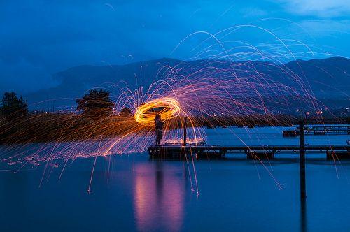 spinning Steel wool on fire