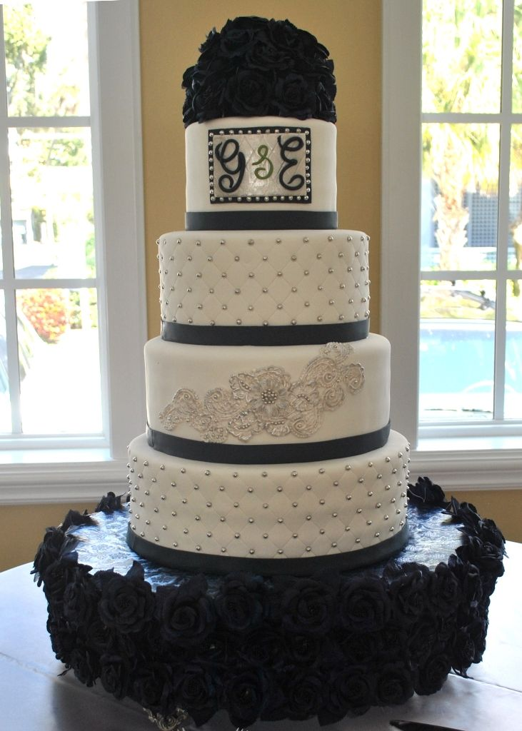 Navy Blue Silver And White Wedding Cake With Silver Custom Monogram